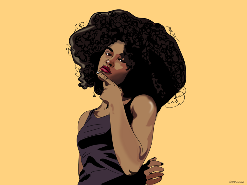 Curiosity concept art artwork wallpaper beautiful posing curious realistic hairstyle afro fashionart black woman girl colorful dribbble drawing art digital art illustration adobe adobe illustrator
