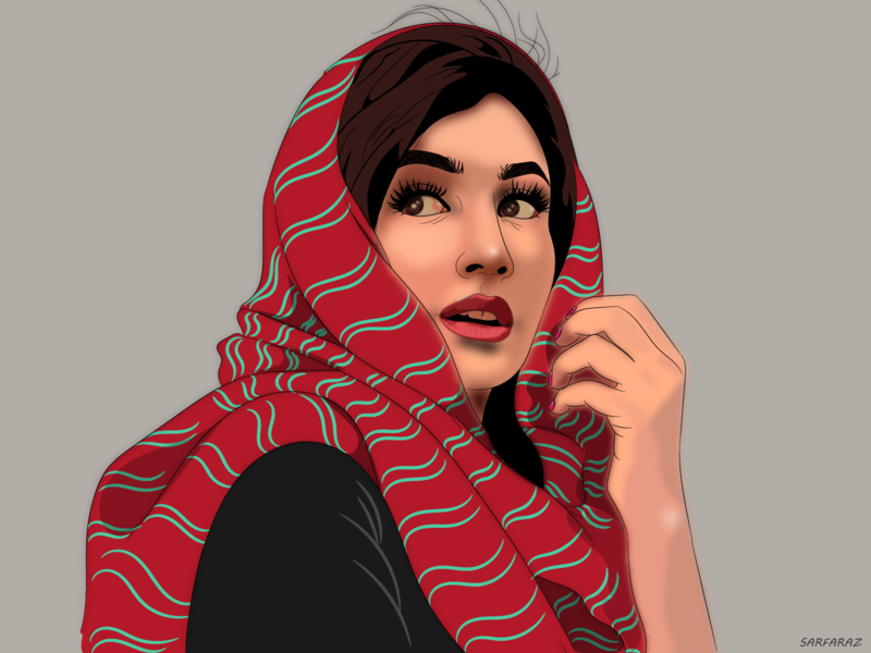Gleeful woman portrait adobe realistic scarf eastern beautiful happy girl woman colorful dribbble drawing art minimalism vector digital art illustration artwork adobe illustrator