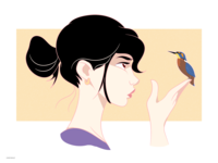 Birdy concept art adobe eye catching cute cartoon illustration bird girl character colorful minimalism drawing art dribbble vector digital art artwork illustration adobe illustrator