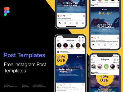 Free Instagram Post  Templates vector ui illustration typography sketch design digital marketing blog. sharing package sharing theme social media ui kit social media kit instagram