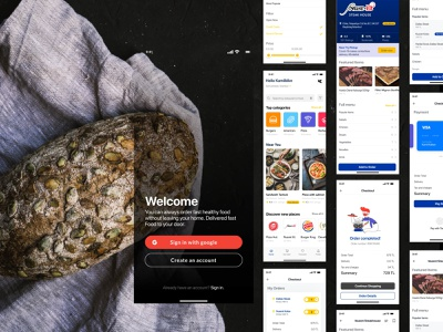 Free Food Cart - Delivery App iOS UI Kit figma app free sketch ux ui minimal ios ui delivery service delivery food and drink food