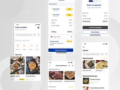 Free Food Cart - Delivery App iOS UI Kit e-comerce food cart food app food figmadesign figma free ux ui minimal