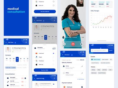 Medical Consultation UI KIT Concept Design daily ui ux clean ui minimal freebies freebie ui kit mobile medical figmadesign e-commerce app design consultation app