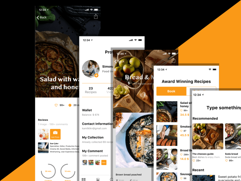 Recipe App | Free Invision Studio File app icon vector free app invision studio invision branding logo free typography dailyui ui minimal