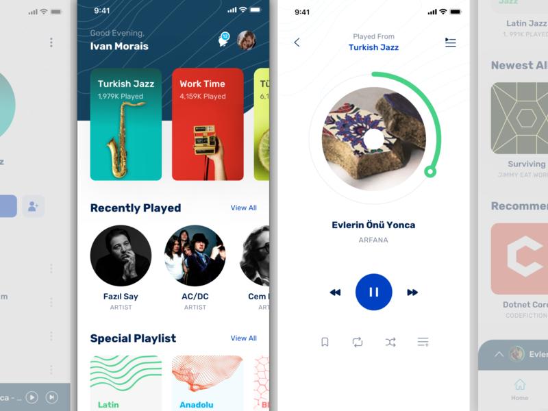 Music App UI Kit mobile app music app illustration branding ux vector free sketch design clean ui
