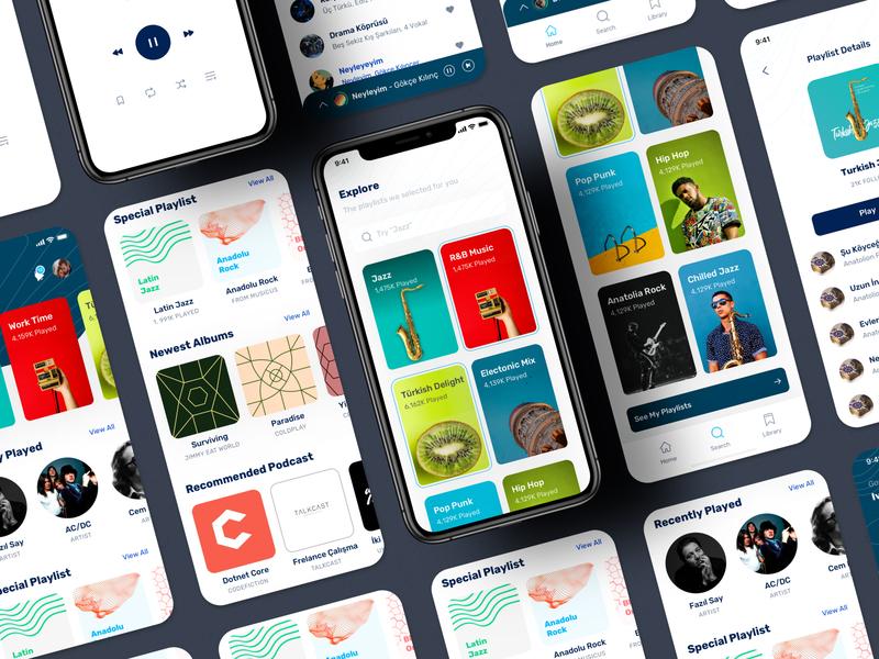 Music App UI Kit - 2 music player music app mobi̇le mobi̇le sketch free ux design clean ui