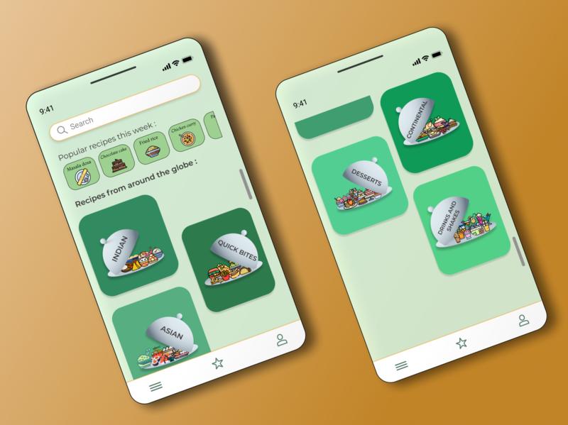 An App for Recipes color recipe app cooking design figma app