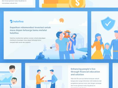 Set Illustrations of Halofina App education family planning financial finance advisory illustration