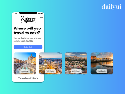 DailyUI #03 - Landing Page city escapes travel landingpage dailyui003 dailyuichallenge dailyui