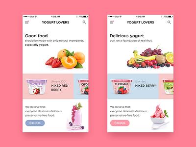 Yogurt Lovers Mobile App recipes chobani fruit ice-cream yogurt food ios mobile app ux ui
