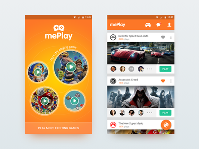 mePlay - Game Store social network android store game mobile ui ux