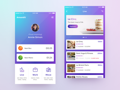 AroundU - Redesign concept transportation navigation map location app android ios app ui ux mobile