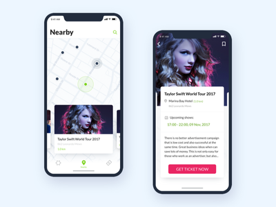 Nearby Events - Ticketbox Mobile app nearby location map event ticket booking iphonex ios mobile interaction ux ui
