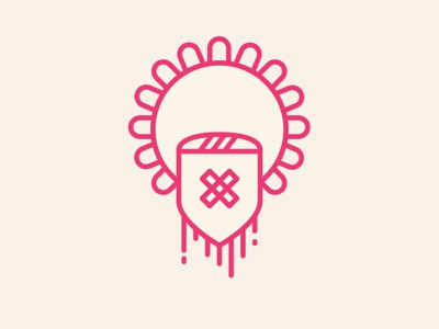 Death Crest *gif animation logo lineart vector micahburger crest lockup drips pink