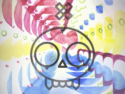 Skull Mixed Media skull illustration mixed media watercolor pattern zine