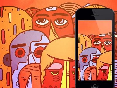 Staring Dead Eyes illustration face red dead eyes