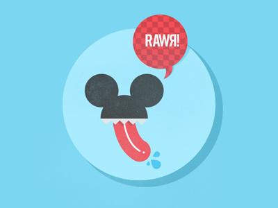 Rawr - Desktop wallpaper rawr mouse ears ears talk bubble blue tounge micahburger illustration