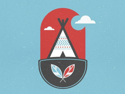 Native Indian WIP indian feather teepee clouds illustration micahburger