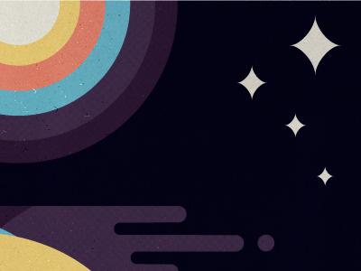 Rainbows in Space micahmicahdesign micahburger vector illustration retro