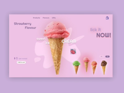 ice cream shop branding website minimal illustrator art design ui app ux illustration