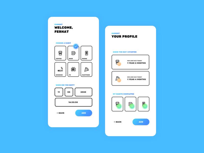 Habquit Mobile Application figma mobile application mobile app design habit tracker ux ui app mobile design minimal flat habit