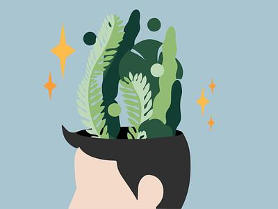 Mindful mind vector minimal illustration flat design