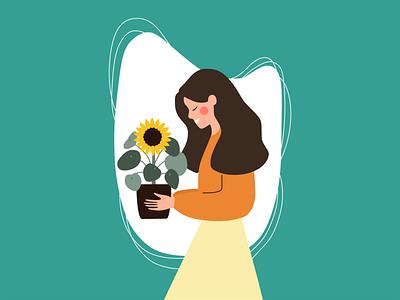 Perempuan dan Bunga Matahari