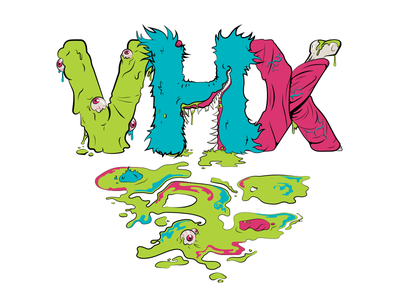 VHX Summer Shirt jim phillips shirt skate 80s retro vomit illustration logo vhx