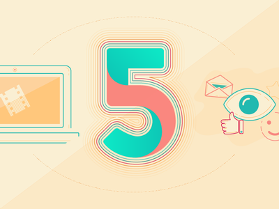 5 Hacks illustration warm illustrator vector number 5 illustration