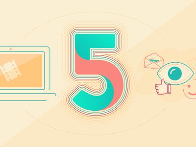 5 Hacks illustration warm illustrator vector number 5 illustration