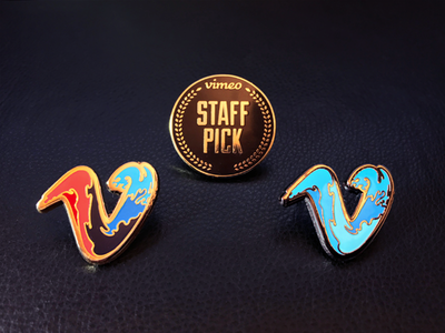 Vimeo Pin Swag wave swag gold laurels staff pick vimeo pins enamel
