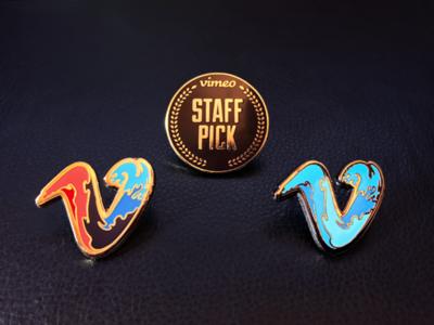 Vimeo Pin Swag wave swag gold laurels staff pick vimeo pins enamel