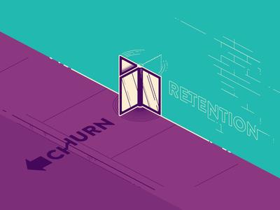 Churn vs Retention vhx door glass illustrator vector bricks sidewalk revolving door retention churn