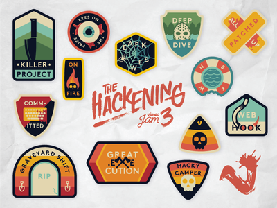 The Hackening Sticker Sheet horror thriller camp badge badges vimeo stickers hackening the hackening