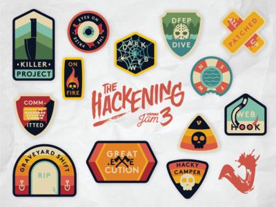 The Hackening Sticker Sheet horror thriller camp badge badges vimeo stickers hackening the hackening