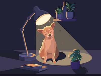 Dog enjoying the cosiness cosiness joy dog vector illustration