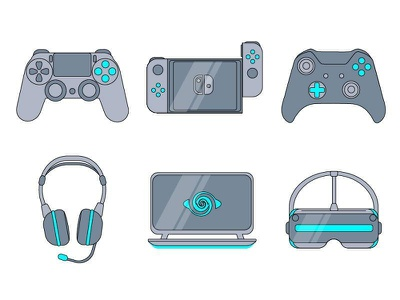 Gaming icons laptop audio vr nintendo xbox ps4 icon vector design illustration