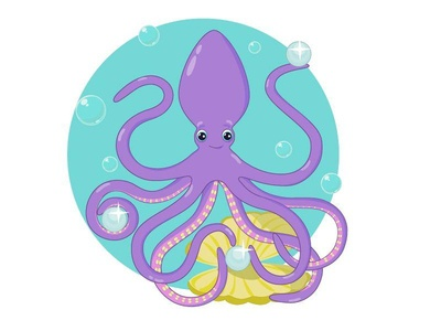 Octopus pearl octopus illustration design vector