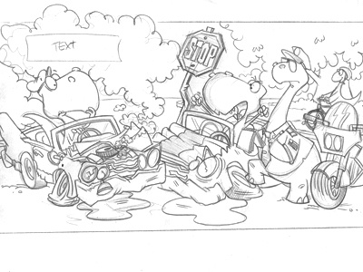 T - Wrecks sketch cartoon childrens book illustration dinosaurs picture book bob ostrom studio julia dweck kids ebook