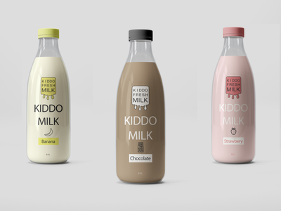 Milk bottles logo pakacing graphic branding bottle drink beverage milk
