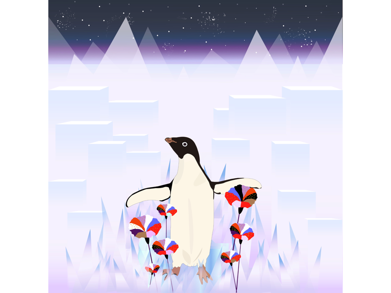 Penguin 🐧🌺 flowers purple colors inspiration illustration artwork penguin