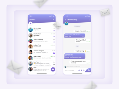 Messenger | App branding cute ios application emoji vector messenger bar menu chat light app figma ui ux design