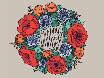 Happy Holidays holiday lettering illustration