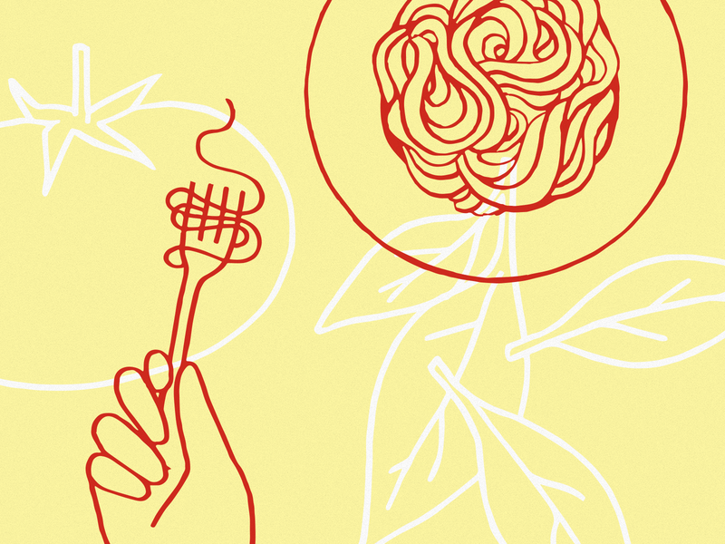 Fresh pasta vector flat branding minimal illustration