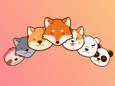 Cute faces verctorial sketch illustrations badges animals