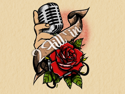 2 Fill'in - Illustration music life rose oldschool tatoo microphone music design band design bandmerch logo illustrator logodesign vector draw designs illustration graphic design design