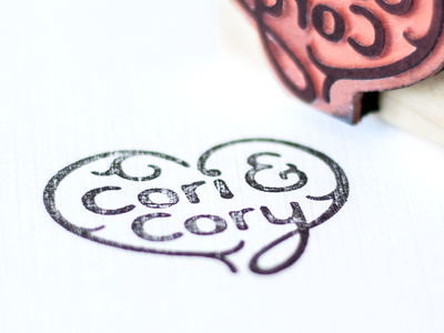 Cori & Cory stamp wedding heart ampersand simple black rubber stamp