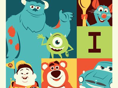 Pixar 25 pixar d23 acme archives screenprint vector illustration monsters inc up ratatouille cars toy story dave perillo montygog