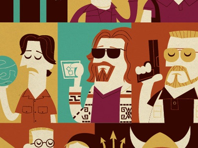 Lebowski Small lebowski commission dude walter donnie jesus bowling coen brothers jeff bridges steve buscemi john goodman vector illustration