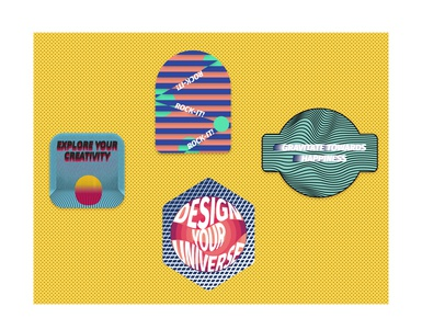Stickers concepts vector minimal logo design illustration